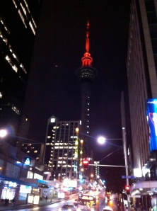 Auckland Skytower by night