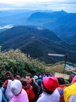 Tourists & locals climbing Adam's Peak